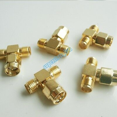 SMA Male Plug to two SMA female Jack triple T type RF adapter connector 3 way