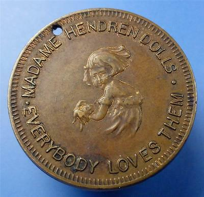 scarce MADAME HENDREN DOLLS SWASTIKA Good Luck Token-Fob Very Old 25mm ME3647