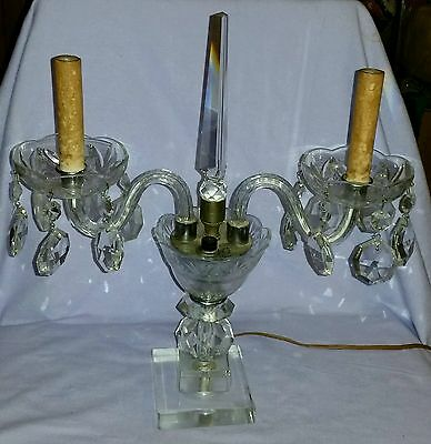 Antique Cut Crystal Double Candelabra Swooping Arms With Prisms & Obelisk Finial