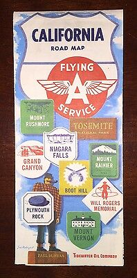 1950's California Road Map Flying A Service - Tidewater Oil Company