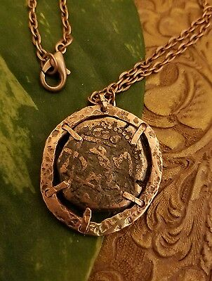 copper pirate coin pendant Authentic spanish cob 1626 with chain