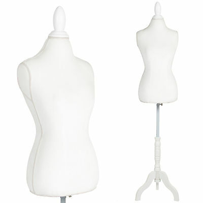 White Female Mannequin Torso Dress Form Display W/ White Tripod Stand