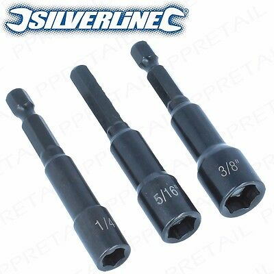 """3Pc MAGNETIC Nut Driver HEX SHANK CR-V Steel 1/4""""