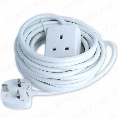 EXTRA LONG 10M EXTENSION LEAD 1 GANG Cable/Wire 13A Plug Socket Electrical Mains