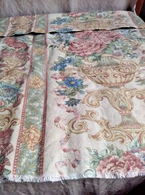 """Vintage Floral French Fabric, Medium Weight Cotton 32""""x60"""" Furnishing Projects"""