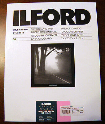 "New Ilford Multigrade IV RC Glossy Photographic Paper 100 Sheets 8 1/2"" x 11"""