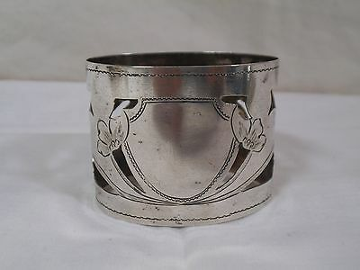 Antique Russian Silver 84 Filigree Etched Flowers Napkin Band Sterling Ring