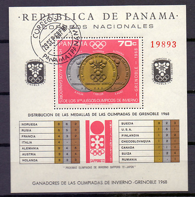 PANAMA Sheet  Mi 92 Used Winterspelen Winterspiele Winter Games Grenoble [008]
