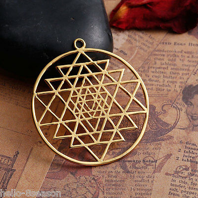 1PC Gold Plated Hollowed Sri Yantra Pendant Necklace Jewelry 3.9x3.5cm