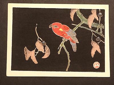 "Jakuchu ""Red Parrot"" Japanese woodblock print c.1930s"