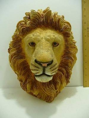 """Lion Head Bust Statue Browns Tans White 11"""" Tall King of the Jungle"""