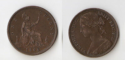 UK  Great Britain  one penny 1866 High grade!!!