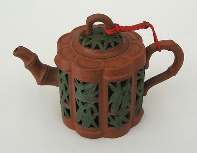 Chinese Yixing Teapot  Red W/ Reticulated Bamboo Leaves, Spout & Handle - Marked