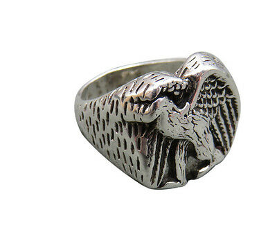 G&S 1986 Vintage Biker Ring Eagle USA Size 7 Chunky Unisex Silver 21q