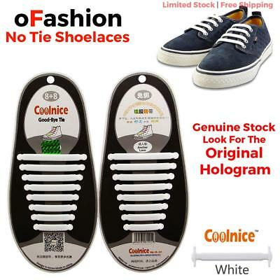 16pcs No Tie Shoe Laces Lock Elastic Running Sneakers Original Coolnice White