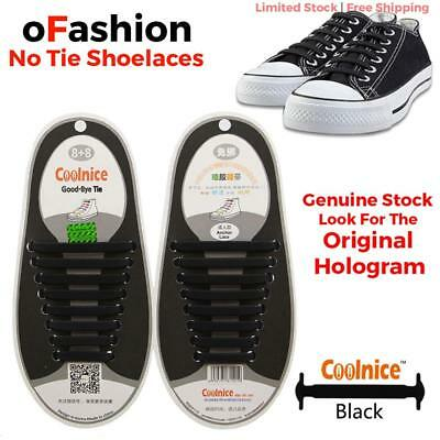 Genuine Coolnice® No Tie Shoelaces Elastic Silicone 16pcs For Adult Sneakers