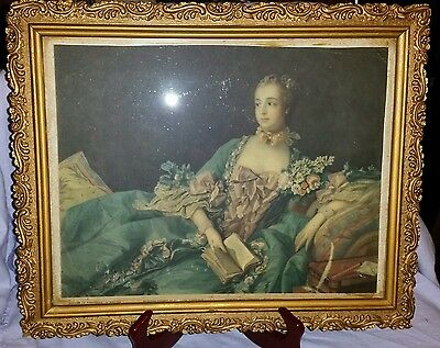Antique Hand Carved Victorian Gilded Wooden Frame With Old Litho