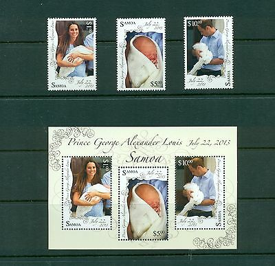 Samoa #1156-59 - 2013 Royal Birth set and sheet VFMNH CV $27.00