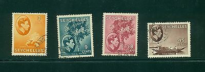 Seychelles 4 George VI definitives VF used CV $10.25
