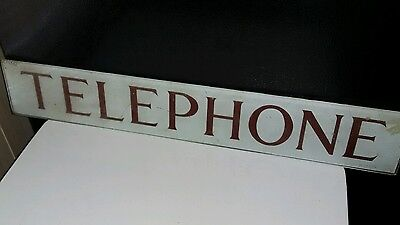 Vintage TELEPHONE Booth Sign Rare Inner Painted Glass Insert