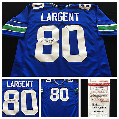 Steve Largent Seattle Seahawks Signed Autograph Blue Football Jersey JSA COA