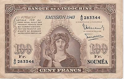 New Caledonia 100 Francs Banknote,1943 Choice Very Good Condition Cat#46-A-3344