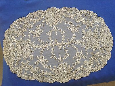 "Beautiful Antique French Alencon Net Lace 16"" Oval Doily Excellent Condition"