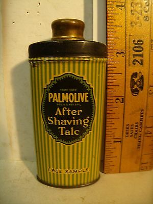 Vintage Sample Palmolive After Shave  Talc Talcum Powder Tin With Contents