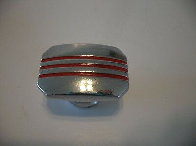 VINTAGE 40s Rectangular Chrome DRAWER KNOBS RED Lines Art Deco Cabinet Door Pull