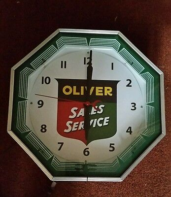 Big 18 Inch Oliver Tractor Sales And Service Neon Clock