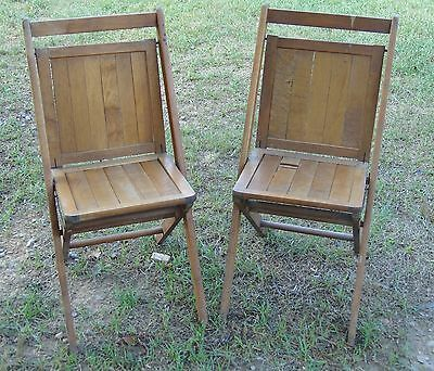 2 Vintage Antique Wood Folding Chairs