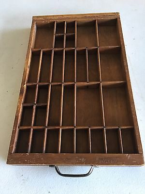 Antique Wooden Printers Type Tray/Shadow Box w/ Maker Imprinted