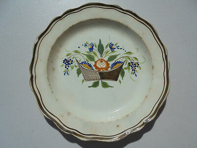 Old Antique 18th C English Leeds Ware Basket of Flowers Plate 8 1/4""