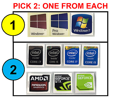 PICK2 Combo: Windows 7/10/Pro Intel 4th i7/i5 AMD/Nvidia Case Badge Sticker USA!