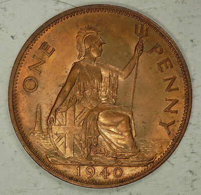 Great Britain 1940 1 Penny coin - high grade !