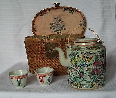 Antique Chinese Rattan / Wicker Cozy Basket w/ Porcelain Tea Pot And Cups