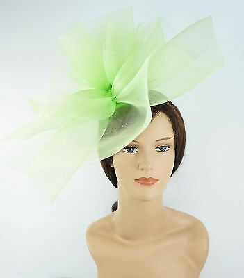 New Church Derby Wedding Fascinator Dress Hat with Headband FS-02 Lime Green