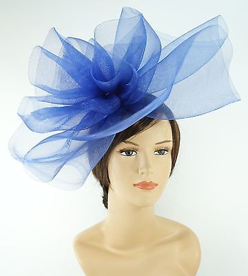New Church Derby Wedding Fascinator Dress Hat with Headband FS-02 Royal Blue