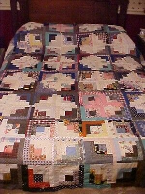 Vintage Log Cabin Quilt Top