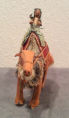 """Vintage HAND STITCHED LEATHER CAMEL FIGURINE With Rider - 10"""""""