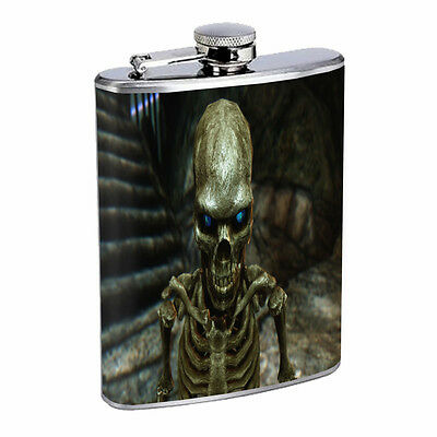 Skeleton Theme D1 Flask 8oz Stainless Steel Hip Drinking Whiskey