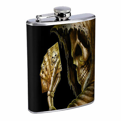 Skeleton Theme D10 Flask 8oz Stainless Steel Hip Drinking Whiskey