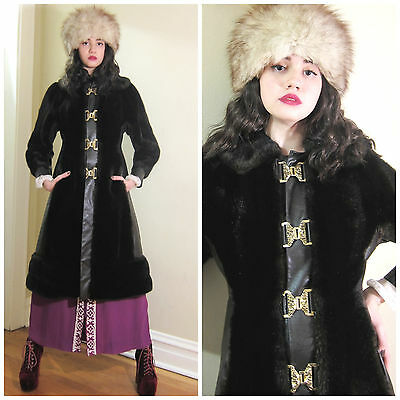 Vintage 1970s 70s Faux Fur Leather Brass Buckle Princess Winter Coat Brown Small