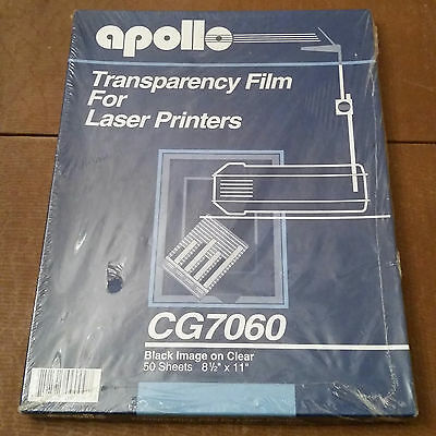 Apollo Transparency Film For Laser Printers 50 Sheets Cg7060 - New Sealed