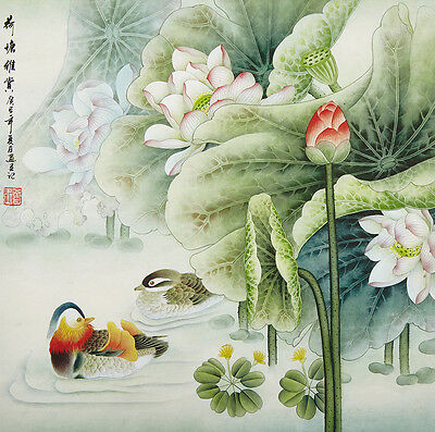 "18"" Silk Brocade Bird & Flower Chinese Brush Painting Watercolor: Mandarin Duck"