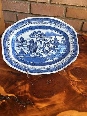 """Antique 18th C Chinese Export Blue and White Porcelain Platter 9"""" By 7"""""""