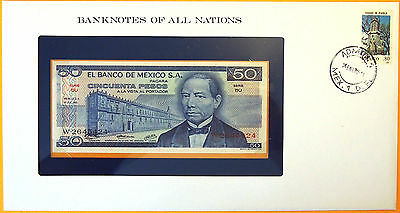 Mexico 1973 - 50 Pesos - Uncirculated Banknote enclosed in stamped envelope