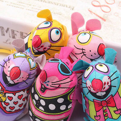 Funny Cat Chew Toys Colorful Canvas Mouse Mice Catmint Catnip Stuffed Toys NEW
