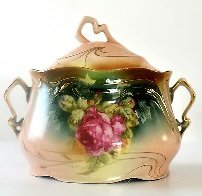 Antique Hand Painted Rose Porcelain Covered Dish with handles Sugar Candy Bowl