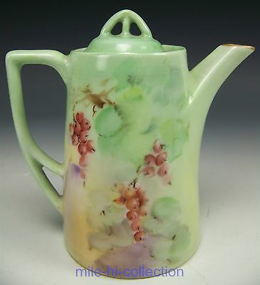 Silesia Germany Hand Painted Red Currants Personal Tea Coffee Pot